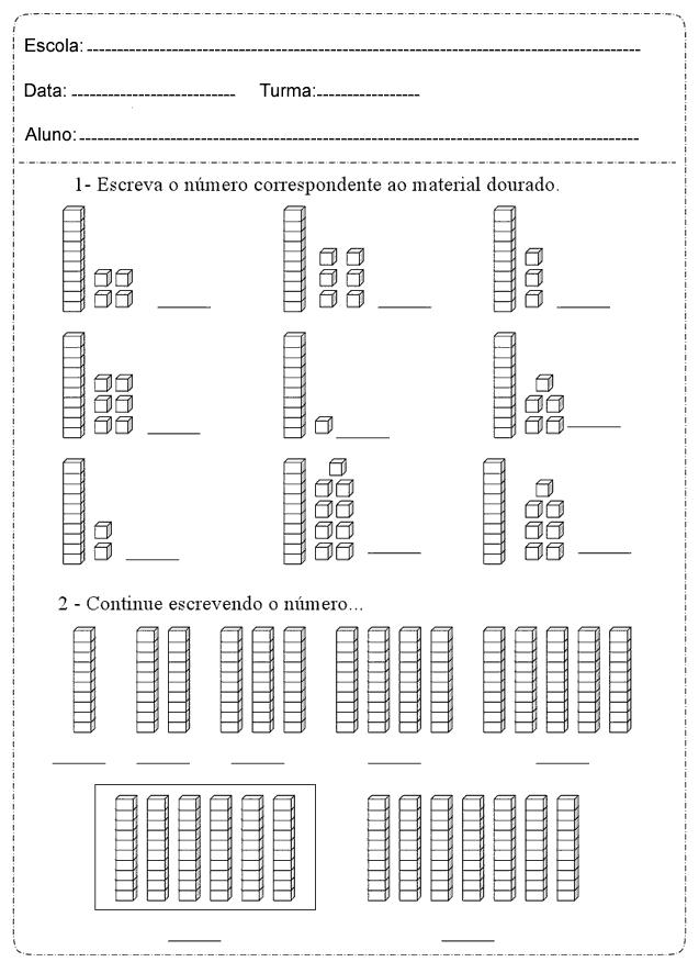 Atividades de Matemática dezena e unidade