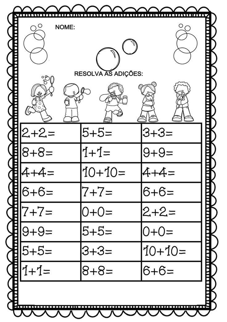 atividades de matemática deadição, para trabalhar com alunos do 1º ano.