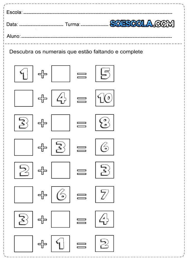 Atividades de Matemática de Adição - 1º Ano do Ensino Fundamental