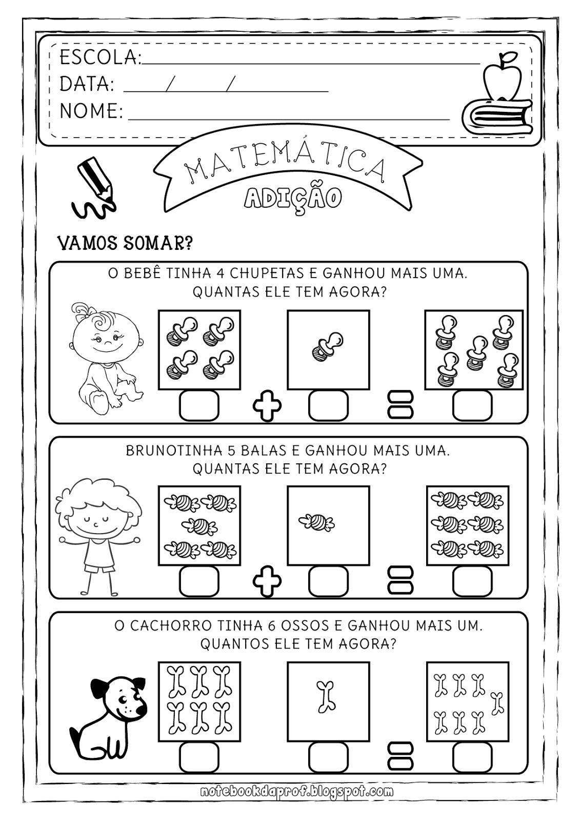 Suficiente Atividades de Matemática de Adição - 1º Ano do Ensino Fundamental VO35