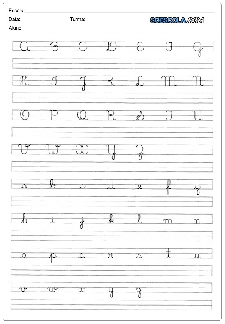 Caligrafia do alfabeto com letras cursivas maiúsculas e minúsculas