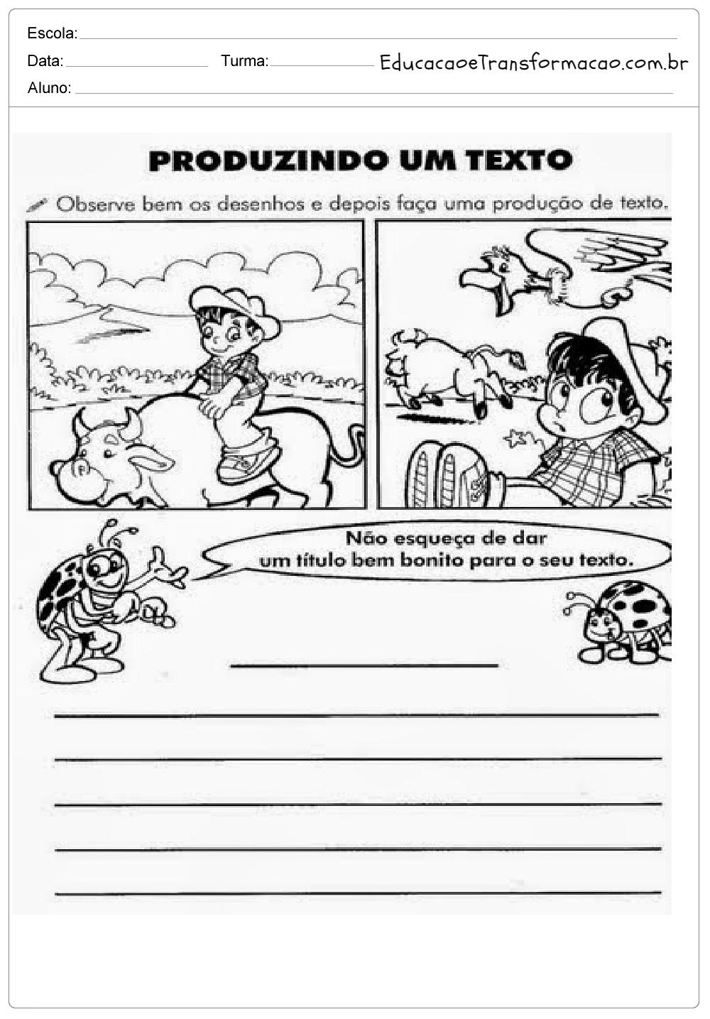 Atividades de Produção de Texto 4º ano – Observe o Desenho.