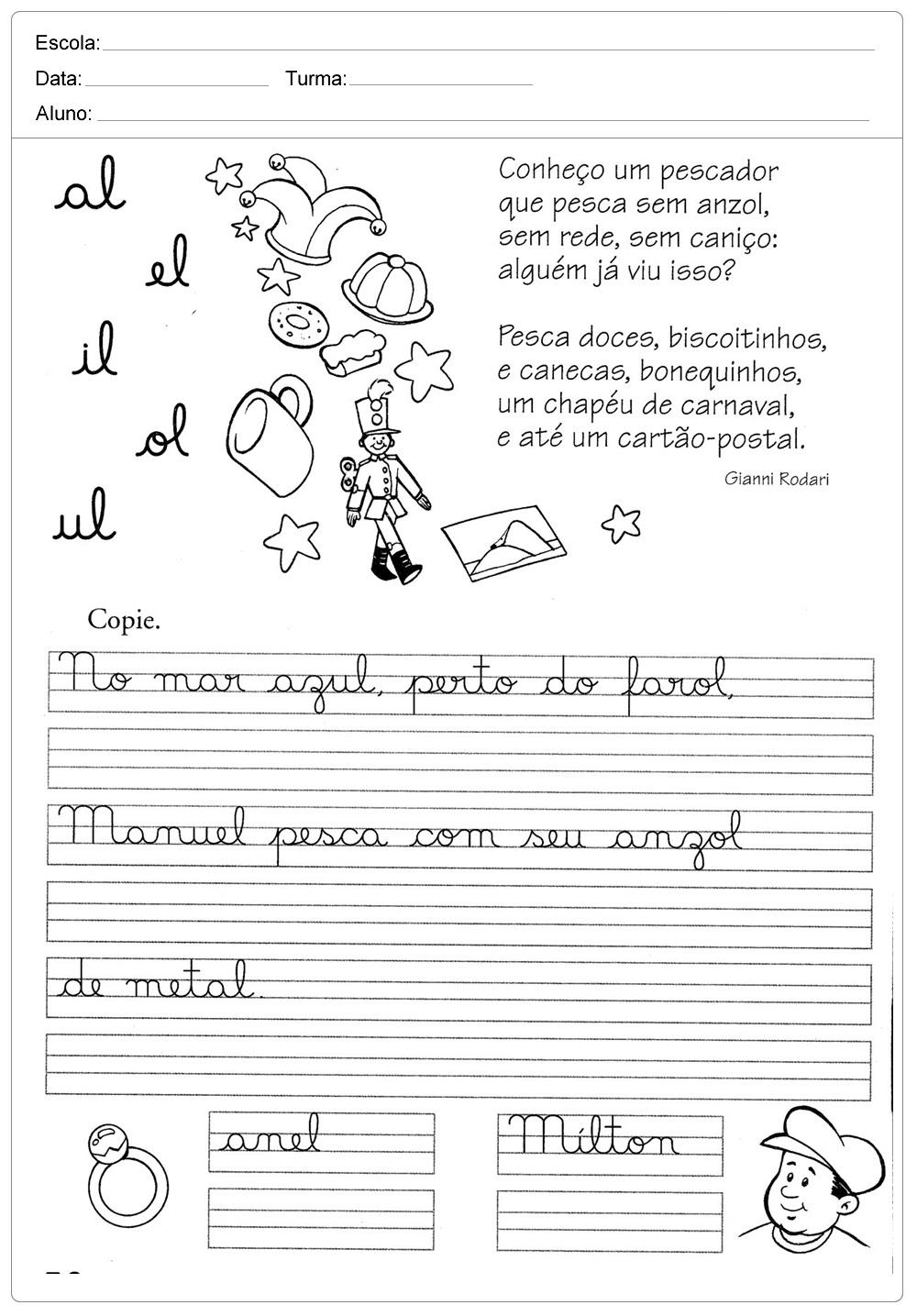 Atividades decaligrafiacom a letra L - para imprimir