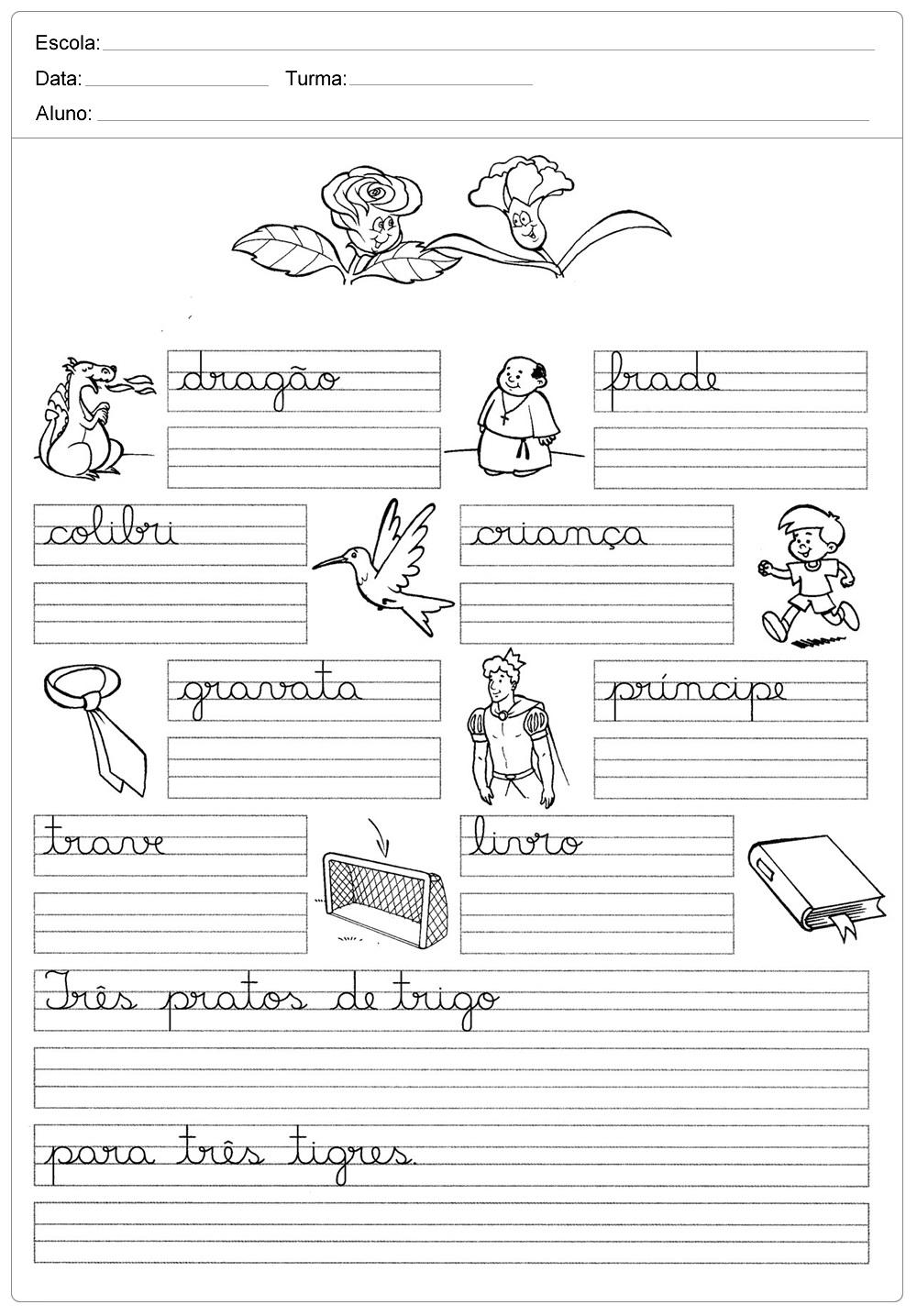 Atividades de caligrafia com frases para imprimir.