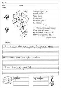 Atividades de caligrafia com a letra G - para imprimir