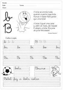 Atividades de caligrafia com a letra B - para imprimir