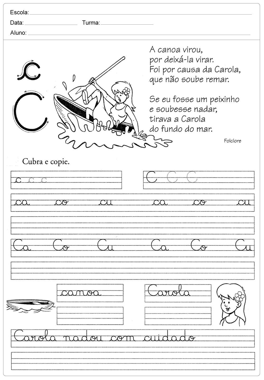 Atividades de caligrafia com a letra C - para imprimir