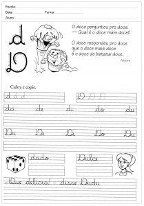 Atividades de caligrafia com a letra D - para imprimir