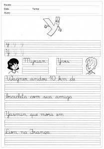 Atividades decaligrafiacom a letra Y- para imprimir