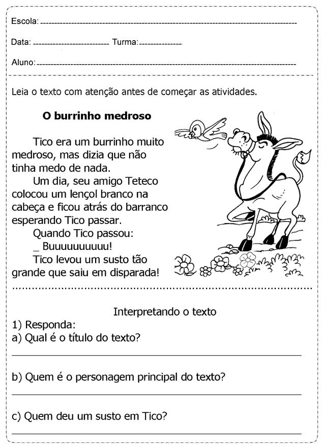 Suficiente Atividades de interpretação de texto 2 ano imprimir: Ensino  EJ81