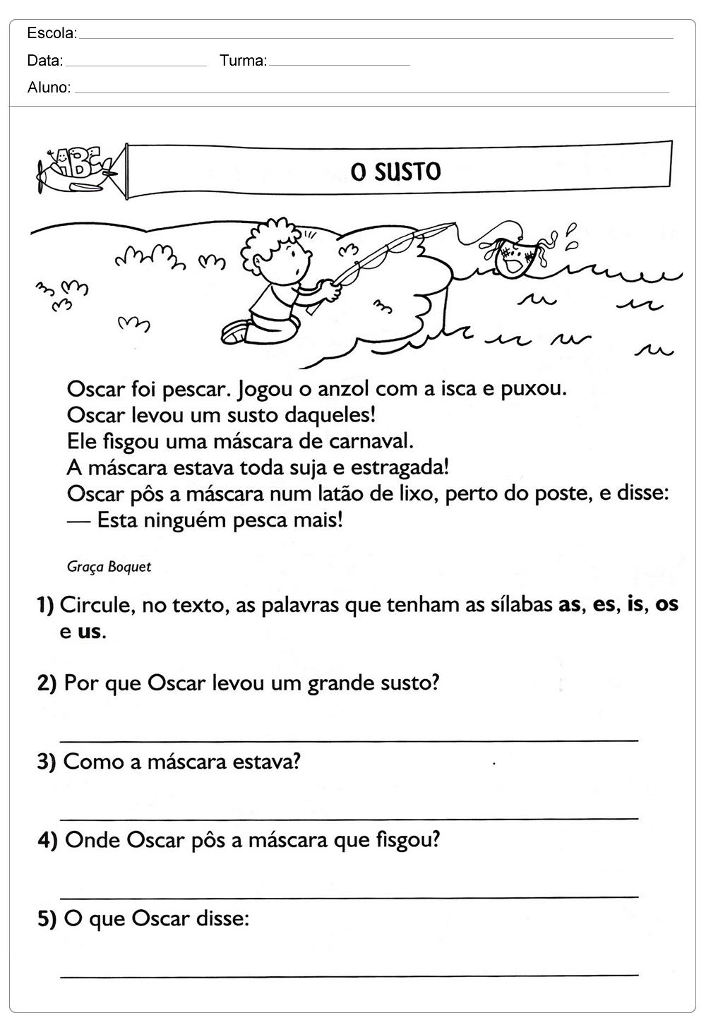 Well-known Atividades de Interpretação de Texto 3 ano do Ensino Fundamental. OA45