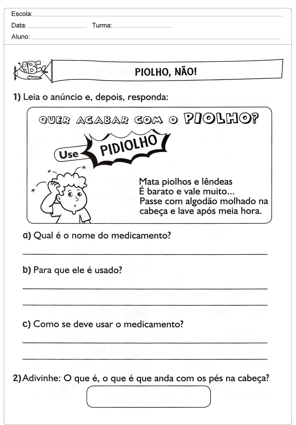 Atividades de Interpretação de Texto 3 ano do Ensino Fundamental para imprimir.