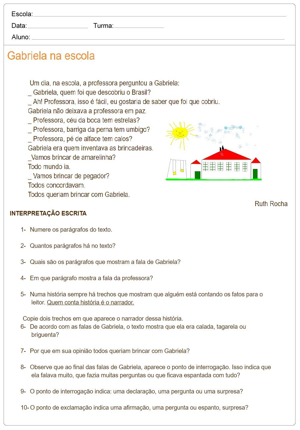 Atividades de Interpretação de Texto 3º ano: Gabriela na Escola.