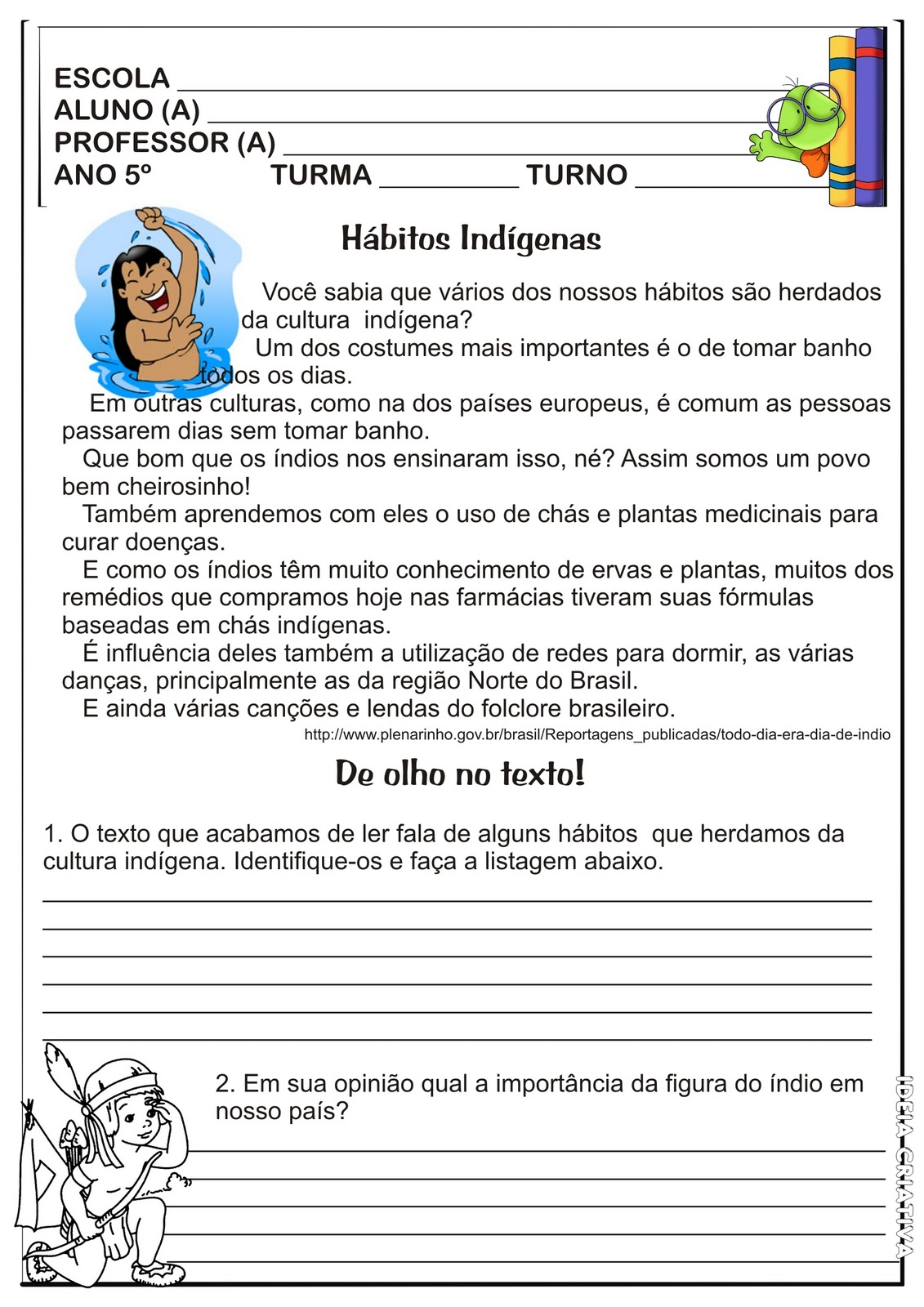 Atividades de Interpretação de Texto 5 ano do Ensino Fundamental