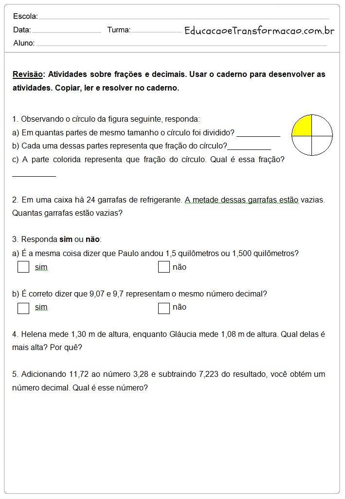 Fabuloso Frações e Decimais - Atividades de Matemática 5º ano. – Educação e  PM29