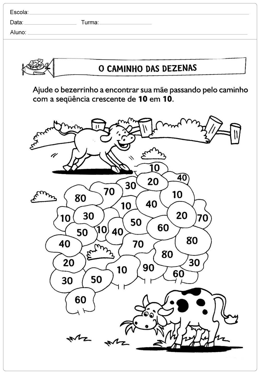 Caminho das Dezenas – Atividades de Matemática 2º ano.