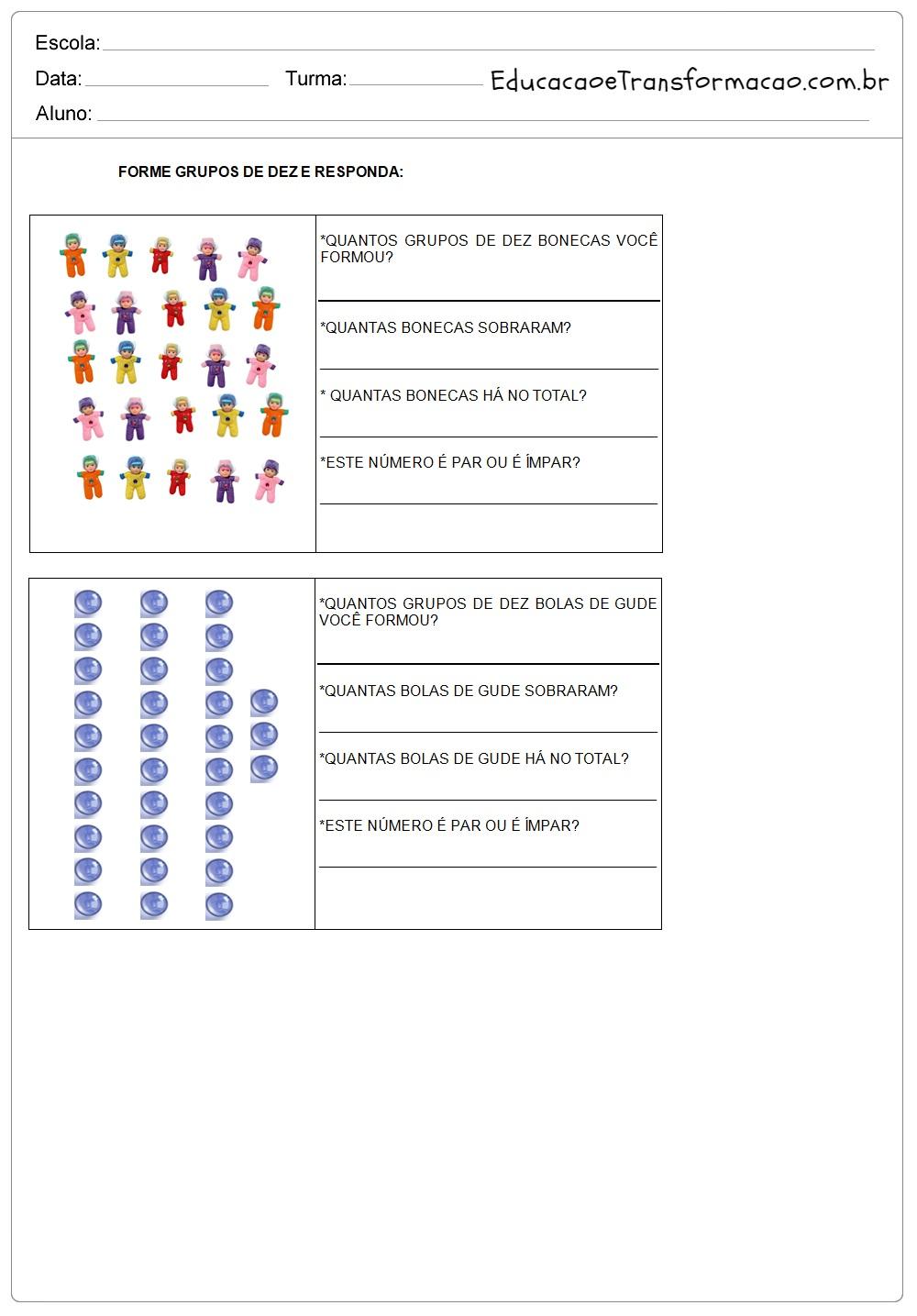 Forme grupos de dez – Atividades de Matemática 2º ano.