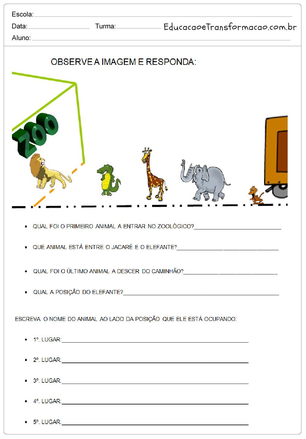 Observe a imagem e responda – Atividades de Matemática 2º ano.
