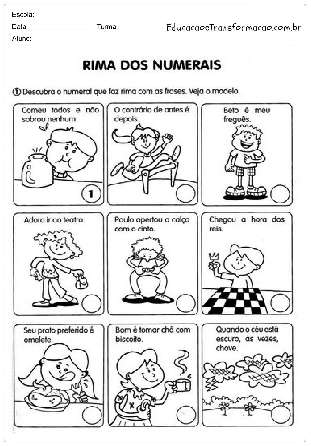 Rima dos Numerais  – Atividades de Matemática 2º ano.