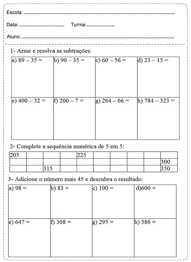 Preferência Atividades de Matemática 4 ano do Ensino Fundamental – Para Imprimir. YC23