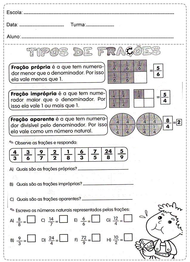 Muitas vezes Tipos de Frações - Atividades de Matemática 4º ano. – Educação e  ZS09