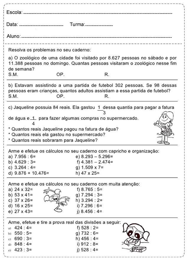 Atividades De Matematica 4 Ano Do Ensino Fundamental Para Imprimir