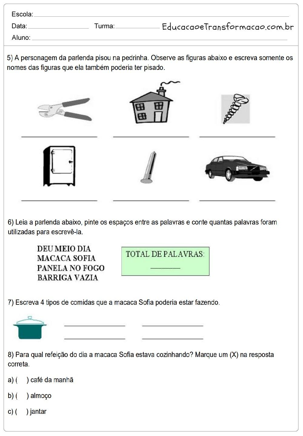 Atividades de Português para o 2 ano - Ensino Fundamental - Imprimir.