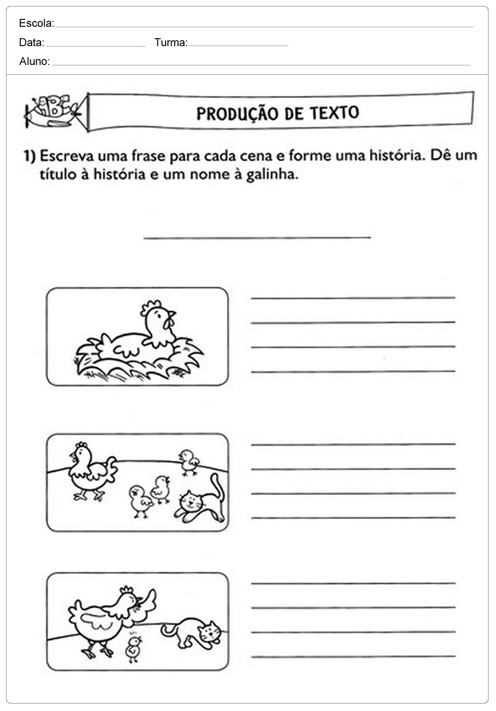 Atividades de Produção de texto 3 ano - Para Imprimir - Series Iniciais.