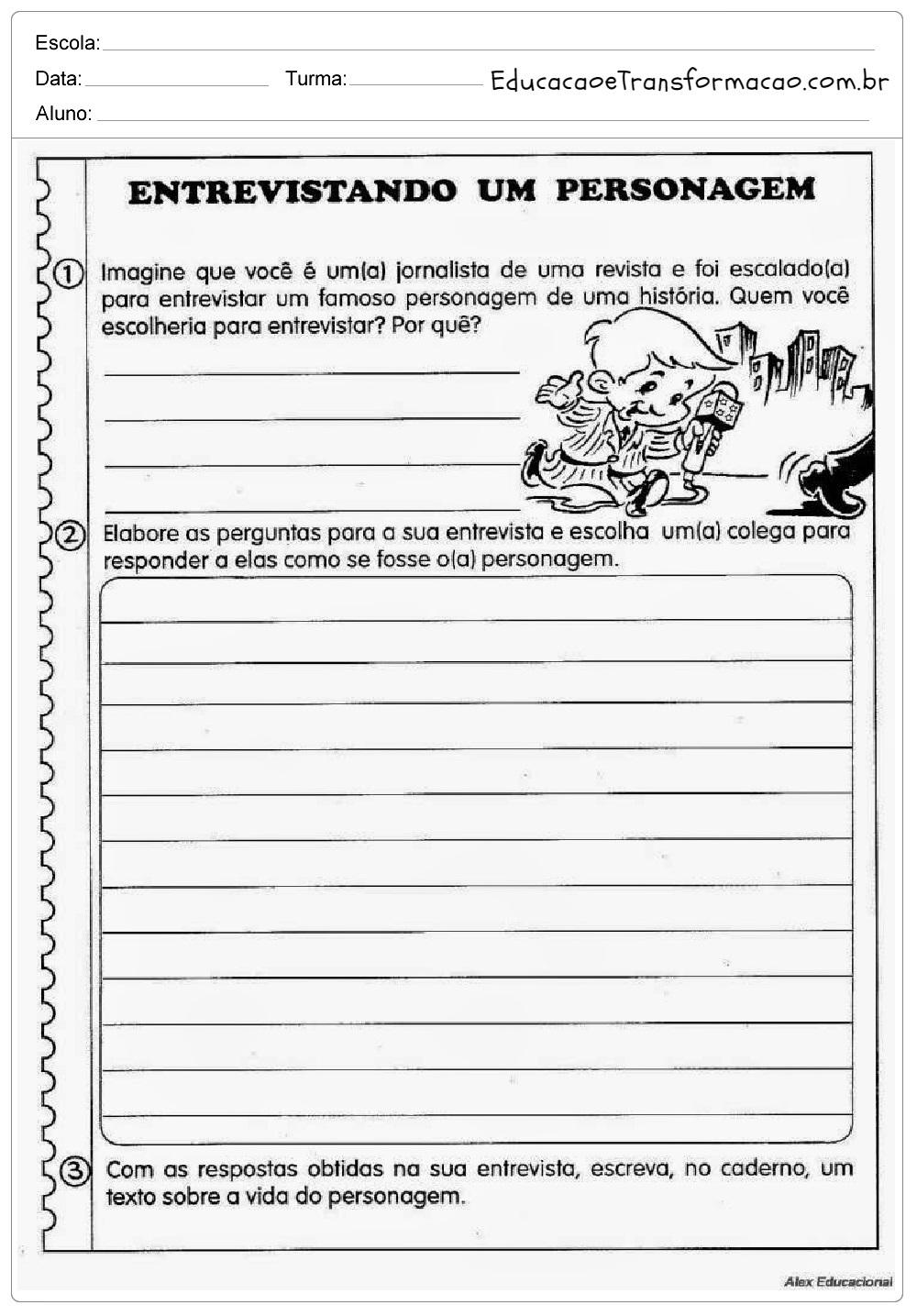 Atividades de Produção de Texto 4 ano - Para Imprimir - Series Iniciais.