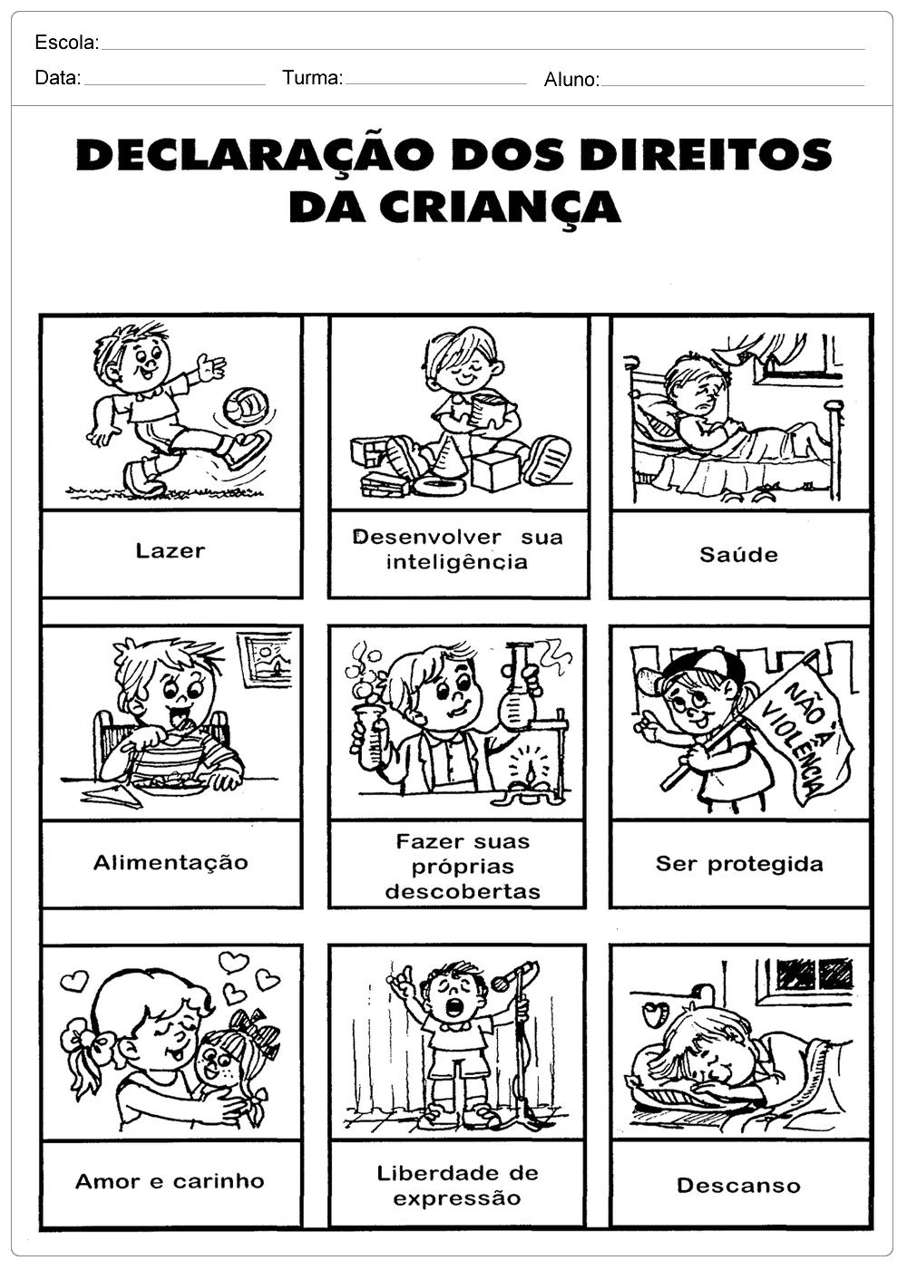 Atividades Direitos das Crianças para imprimir