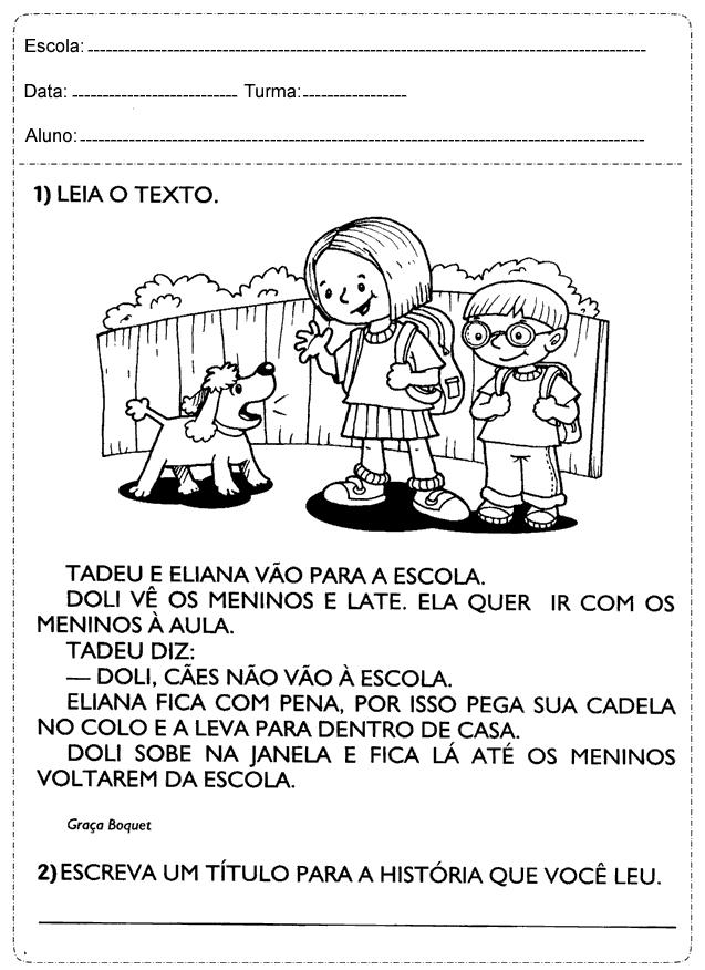 Well-known Atividades de interpretação de texto 2 ano imprimir: Ensino  ID51