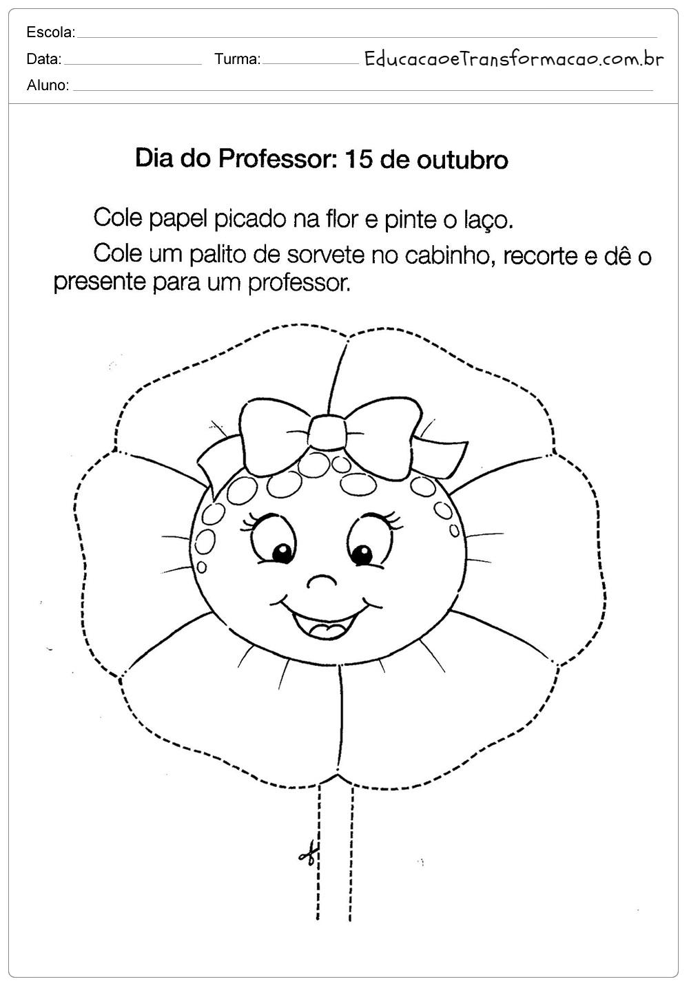 Atividades para o Dia dos Professores - Mensagens, Poemas, Desenhos, Frases e mais.