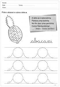 Atividades de caligrafia com a letra A - para imprimir