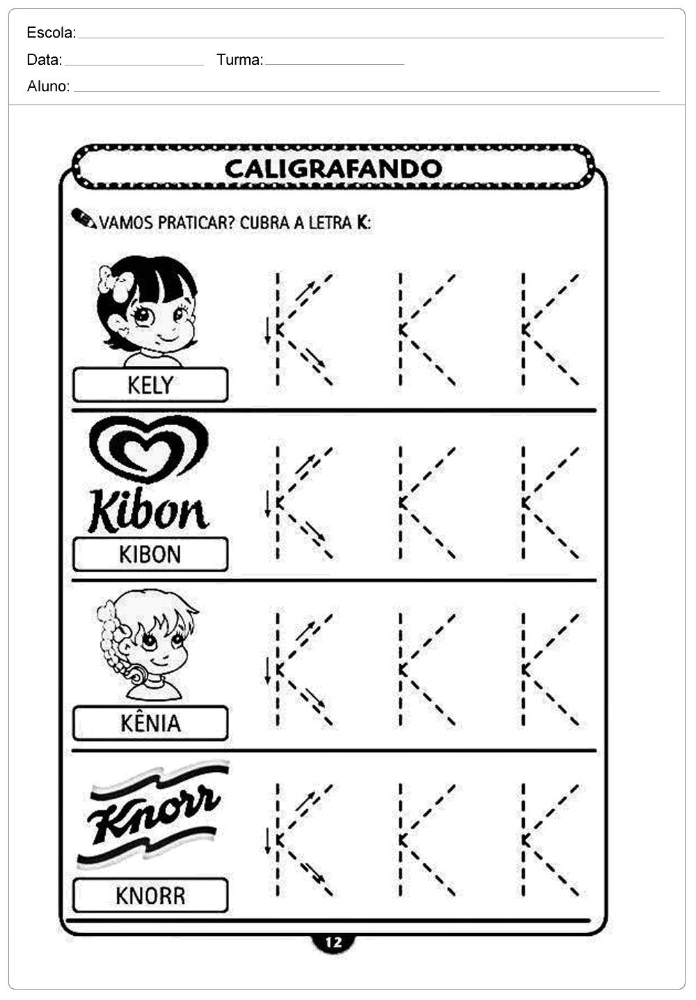 Atividades decaligrafiacom a letra K- para imprimir