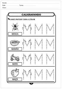 Atividades decaligrafiacom a letra M - para imprimir