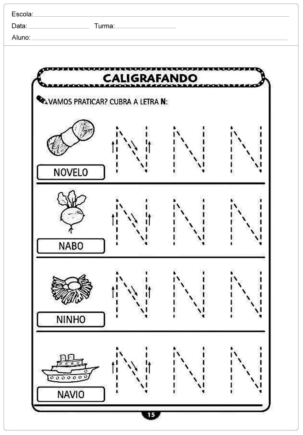 Atividades de caligrafia com a letra N - para imprimir