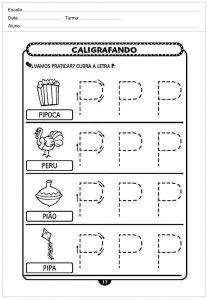 Atividades decaligrafiacom a letra P- para imprimir