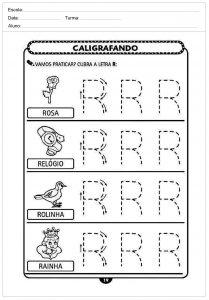 Atividades decaligrafiacom a letra R- para imprimir