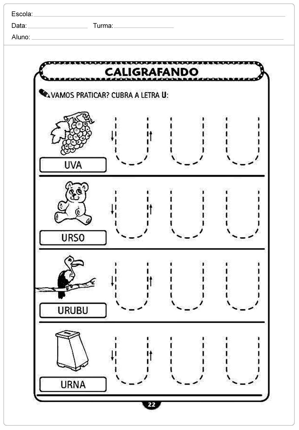 Atividades decaligrafiacom a letra U- para imprimir