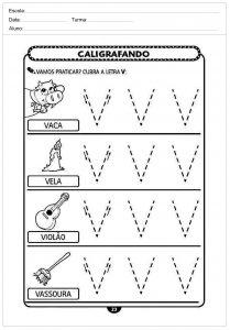 Atividades decaligrafiacom a letra V- para imprimir