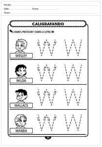 Atividades decaligrafiacom a letra W- para imprimir