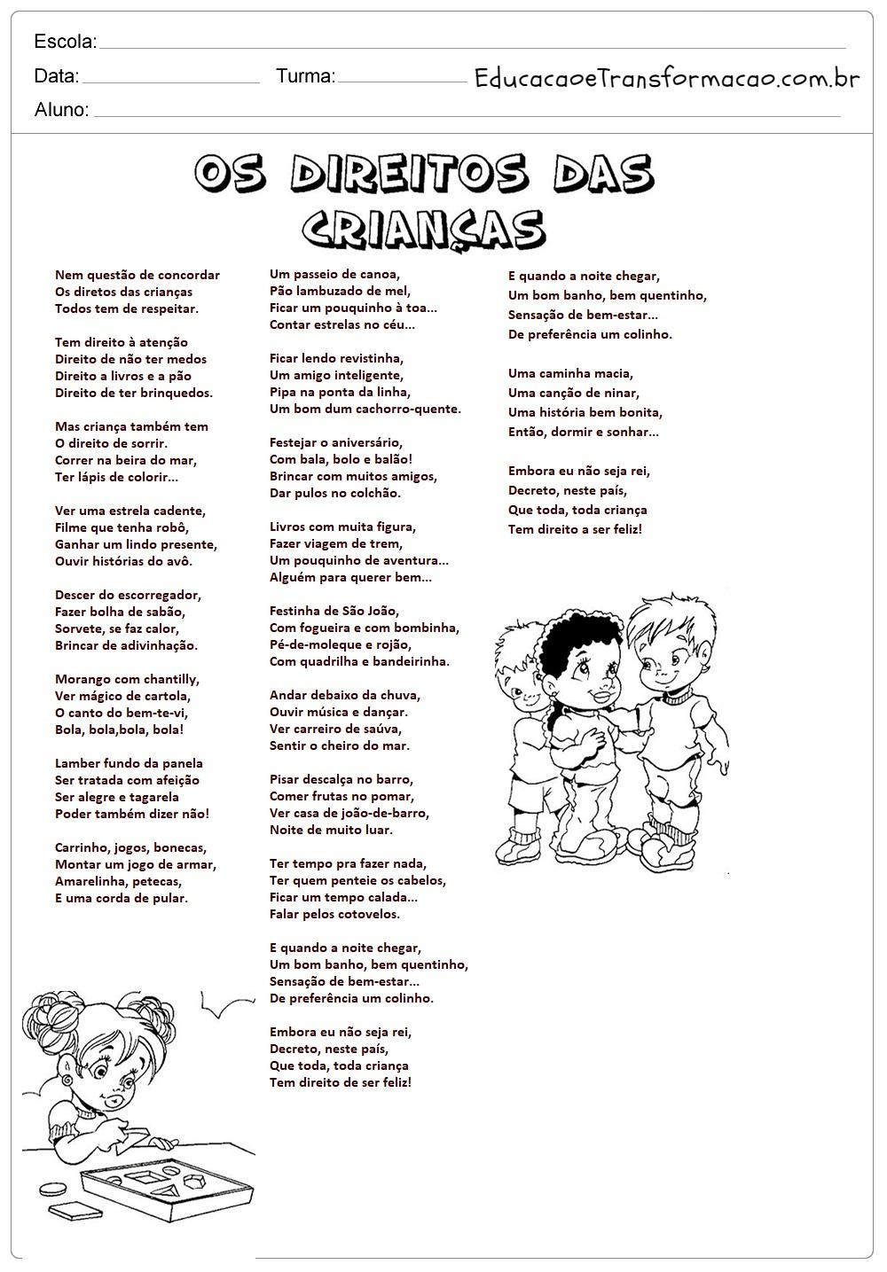 Super Atividades Direito das Crianças: Poema Ruth Rocha. – Educação e  AO88
