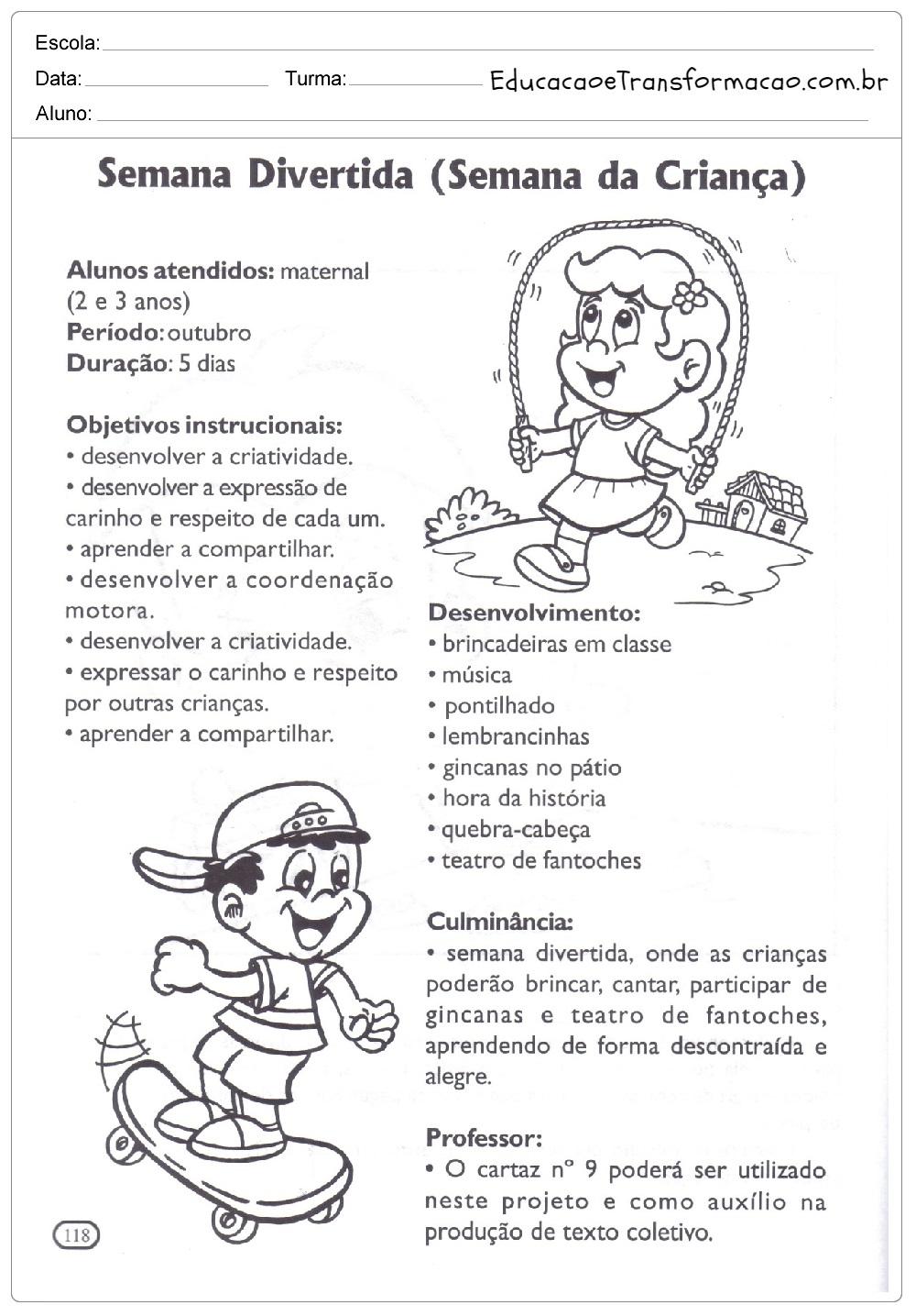 Projeto Dia Das Crianças Para Educação Infantil E Ensino Fundamental