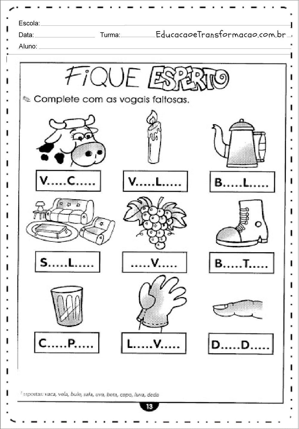 Vogais Faltosas – Atividades de Alfabetização.