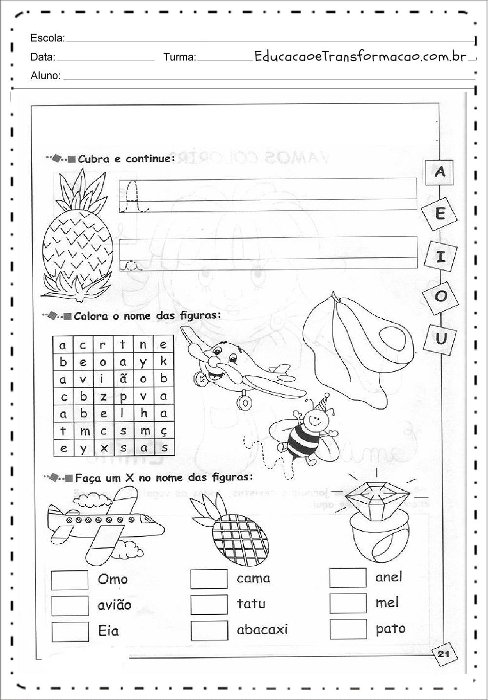 Cubra e Continue – Atividades de Alfabetização.