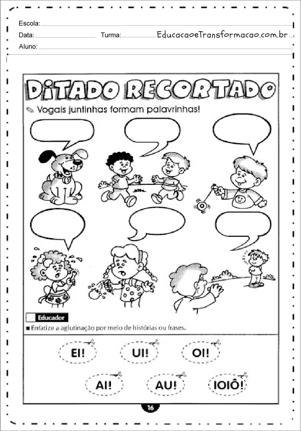 Ditado Recortado – Atividades de Alfabetização.