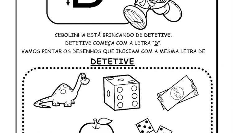 Atividades de Alfabetização para imprimir – Letra D