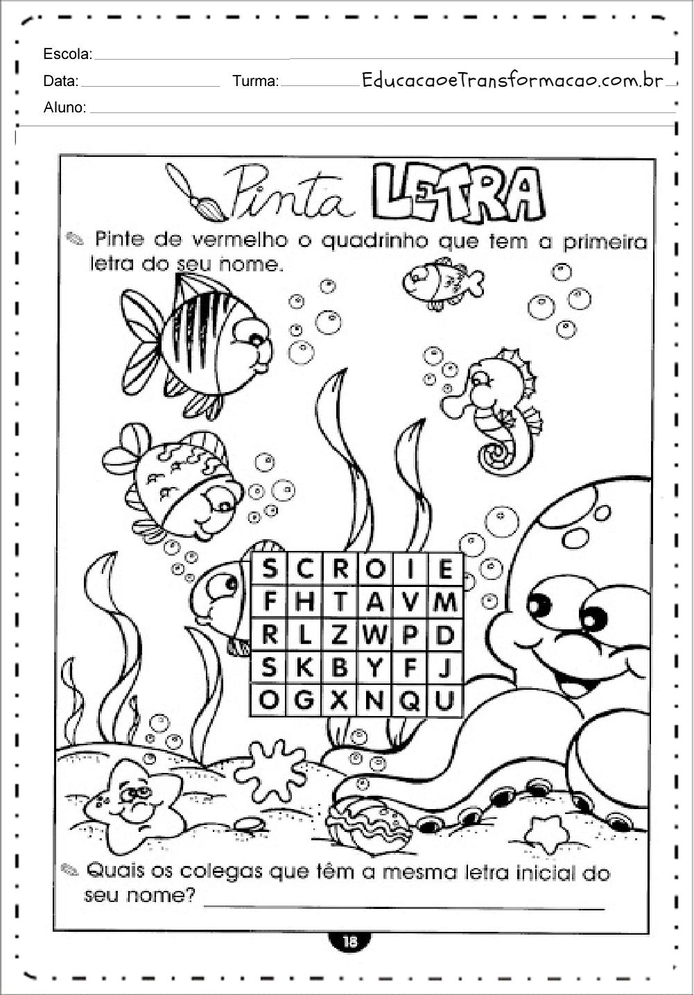 Letra do Nome – Atividades de Alfabetização.