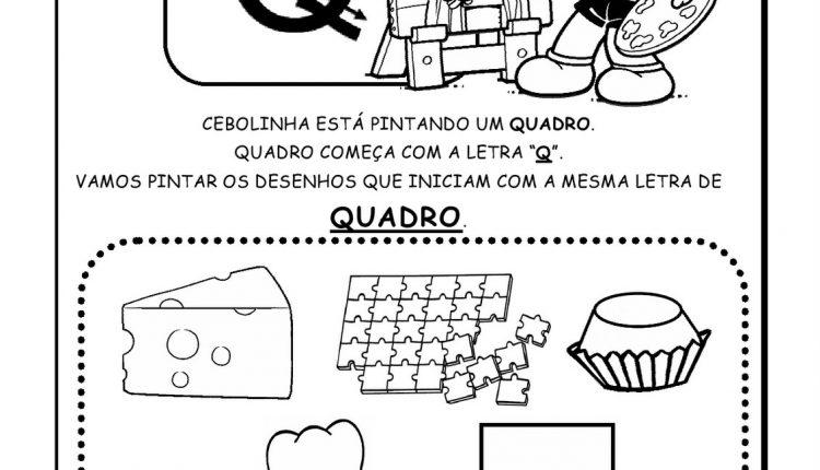 Atividades de Alfabetização para imprimir – Letra Q