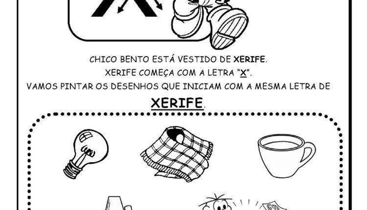 Atividades de Alfabetização para imprimir – Letra X